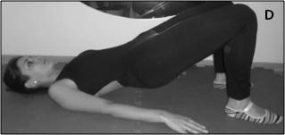 Ponte: deitar de barriga para cima com os braços esticados e joelhos dobrados. Contrair o abdômen e elevar o quadril, mantendo suspenso por 10 segundos e retornar. Repetir 3 vezes.